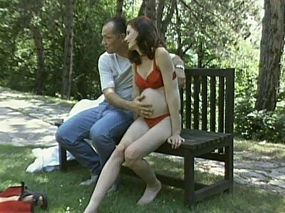 Pregnant Brunette Outdoor Hook opine